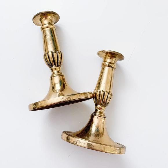 Vintage Brass Gold Candlesticks (Set of 2)